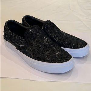 Vans black sequins canvas slip on shoe